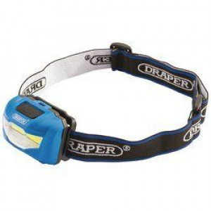 Draper Hoofdlamp COB LED, 3W/200lumen, inclusief 3x AAA batterijen - D90071