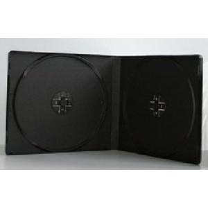 Huismerk pocket-sized DVD videobox, voor 2 DVD's, 7 mm rug (slimline), zwart, 50 stuks