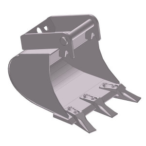 Dieplepelbak 400mm met tanden - EBDTLH01C400KR | Lange Levensduur | Levering met tanden | 53 kg | SW03 Lehnhoff-Aufnahme | 1,5-2,6 ton | 150 x 16 | 53 l | 400 mm