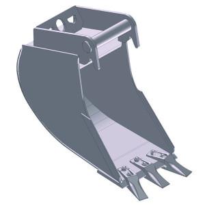 Dieplepelbak 500mm met tanden - EBDTLH01C500KR | Lange Levensduur | Levering met tanden | 47 kg | SW01 Lehnhoff-Aufnahme | 1,5 2,6 ton | 150 x 16 | 37 l | 500 mm