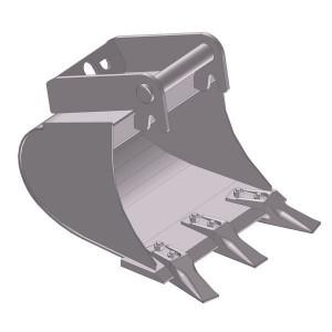 Dieplepelbak 400mm met tanden - EBDTLH01D400KR | Lange Levensduur | Levering met tanden | 67 kg | SW03 Lehnhoff-Aufnahme | 2,6-3,8 ton | 150 x 16 | 77 l | 400 mm