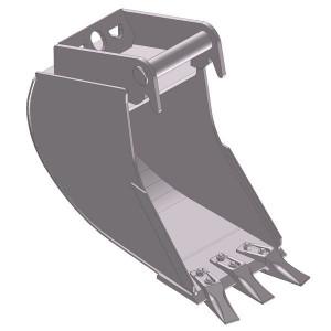 Dieplepelbak 600mm met tanden - EBDTLH03D600KR | Lange Levensduur | Levering met tanden | 89 kg | SW03 Lehnhoff-Aufnahme | 2,6 3,8 ton | 150 x 16 | 129 l | 600 mm