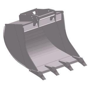 Dieplepelbak 400mm met tanden - EBDTLH08G400KR | Lange Levensduur | Levering met tanden | 168 kg | SW08 Lehnhoff-Aufnahme | 7,5 10,0 ton | 150 x 16 | 129 l | 400 mm