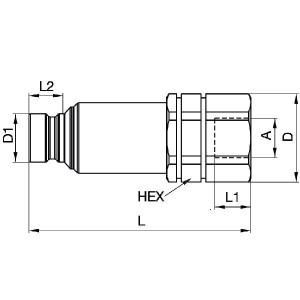 """Parker 3/4"""" inzet BUD overbel. - FEC50212FB   250 bar   1/2"""" Inch   24.5 mm   101 mm"""