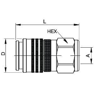 """Parker 1"""" koppeling binnendraad - FF7510100C   400 bar   3/4"""" Inch   106 mm"""