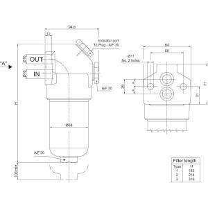 MP Filtri Persfilter FHB-065/3-S-F1-A10-H-K71 - FHB0653A10HK71 | 320 bar | Cavity: Steel | -25 +110 | 10 µm | 100 l/min