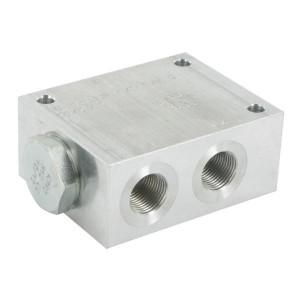 FluidPress Stroomverdeler 1/2-3/8 - FPFDS10CB12M38 | Max. druk 250 Bar | 40 l/min | 50 mm | 8 mm | 20-40 l/min | 1/2 BSP | 3/8 BSP | 64 mm | 47 mm | 8 mm