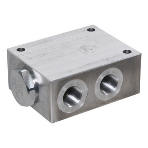 FluidPress Stroomverdeler 3/8-3/8 1-5 liter - FPFDS10CB38A38 | Max. druk 250 Bar | 5 l/min | 50 mm | 8 mm | 1-5 l/min | 3/8 BSP | 3/8 BSP | 64 mm | 47 mm | 8 mm