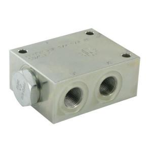FluidPress Stroomverdeler 1-5 liter 3/8ST - FPFDS10CB38A38ST | 5 l/min | 50 mm | 8 mm | 1-5 l/min | 3/8 BSP | 3/8 BSP | 64 mm | 47 mm | 8 mm | 350 bar