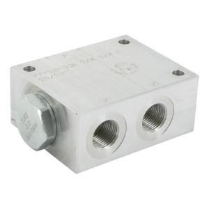 FluidPress Stroomverdeler 3/8-3/8 5-10 liter - FPFDS10CB38E38 | Max. druk 250 Bar | 250 bar | 10 l/min | 50 mm | 8 mm | 5-10 l/min | 3/8 BSP | 3/8 BSP | 64 mm | 47 mm | 8 mm