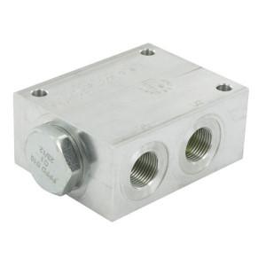 FluidPress Stroomverdeler 3/8-3/8 10-20 liter - FPFDS10CB38I38 | Max. druk 250 Bar | 20 l/min | 50 mm | 8 mm | 10-20 l/min | 3/8 BSP | 3/8 BSP | 64 mm | 47 mm | 8 mm