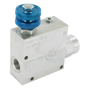FluidPress 3-wegstroomregelklep 1/2 50-9 - FPRF12G | Max. druk: 250 Bar. | BSP-binnendraad | Aluminium | 30 l/min | 1/2 BSP | 133,5 mm | Handrad