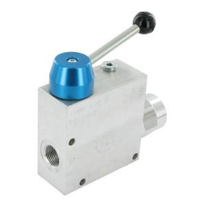 FluidPress 3-wegstroomregelklep 1/2 50-9 - FPRF12H | Max. druk: 250 Bar. | BSP-binnendraad | Aluminium | 1/2 BSP | 133,5 mm | +Lever | 90 l/min