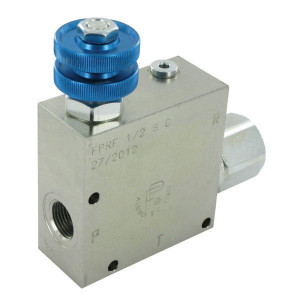 FluidPress 3-wegstroomregelklep 1/2 50-9 - FPRF12ST | BSP-binnendraad | 1/2 BSP | 133,5 mm | Without safety valve | Handwiel | 90 l/min | 90 l/min