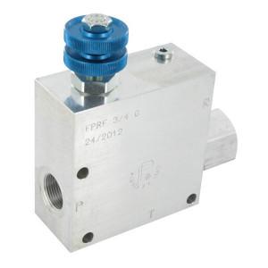 FluidPress 3-wegstroomregelklep 3/4 90-1 - FPRF34G | Max. druk: 250 Bar. | BSP-binnendraad | Aluminium | 3/4 BSP | 155,5 mm | Handwiel | 150 l/min