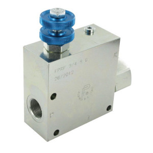 FluidPress 3-wegstroomregelklep 3/4 90-1 - FPRF34ST | BSP-binnendraad | 3/4 BSP | 155,5 mm | Without safety valve | Handwiel | 150 l/min | 150 l/min