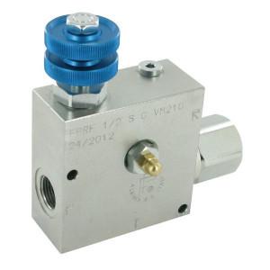 FluidPress 3-wegstroomregelklep 3/4 90-15 - FPRF34STVM210 | BSP-binnendraad | 3/4 BSP | 155,5 mm | Safety valve 80-250 Bar | Handwiel | 150 l/min | 150 l/min