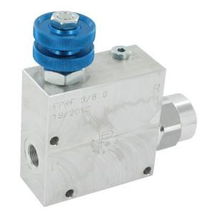 FluidPress 3-wegstroomregelklep 3/8 30-5 - FPRF38G | Max. druk: 250 Bar. | BSP-binnendraad | Aluminium | 3/8 BSP | 133,5 mm | Handwiel | 50 l/min