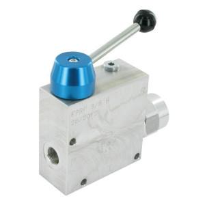FluidPress 3-wegstroomregelklep 3/8 30-5 - FPRF38H | Max. druk: 250 Bar. | BSP-binnendraad | Aluminium | 3/8 BSP | 133,5 mm | +Lever | 50 l/min