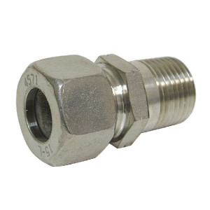 Inschroefkopp. 6LL M6 RVS - GEV6LLMK6RVS | 100 bar | 6 mm | M 6 x 1,0 | 8 mm | M10 x 1,0 metrisch