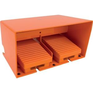 Dubbele pedaalschakelaars met beschermkap, metaal, Oranje | 2x PG16