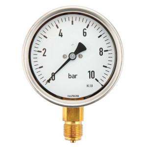 Manometer aansluiting onder 100 mm roestvast staal