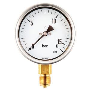 Manometer aansluiting onder 100 mm roestvast staal met glycerine gevuld