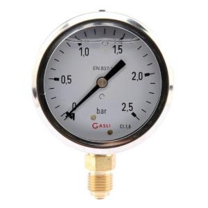 Manometer aanlsuiting onder 63 mm roestvast staal, gevuld met glycerine