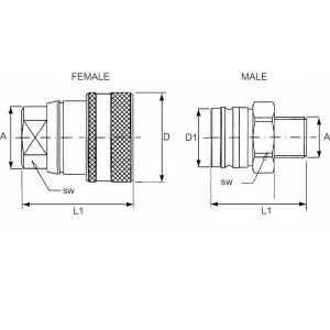 Female snelkoppeling voor remleiding type VF | Lekarm | NBR / PTFE | ISO/DIN 5676 | Wit gepassiveerd