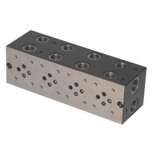 Cetop 03 voetplaat meervoudig zijaansluiting staal met boorpatroon | Max. 40 l/min