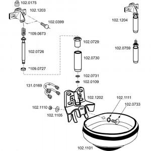 Onderdelen voor drinkbak model 1200 Suevia