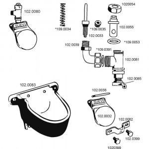 Onderdelen voor drinkbak model 8 Suevia
