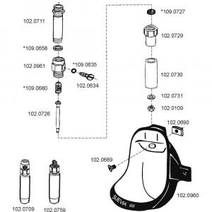 Onderdelen voor drinkbak model 96 RVS
