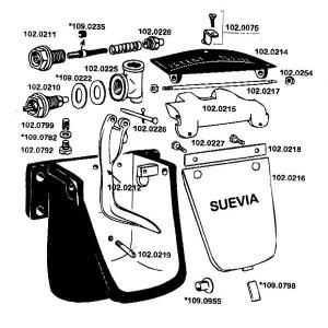 Onderdelen voor drinkbak model 21 Suevia