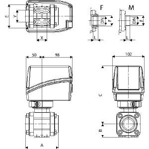 Arag elektrische 2-weg kogelkranen, serie 853 (met schroefdraadaansluiting)
