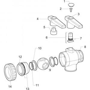 Arag onderdelen voor handbediende kogelkranen serie 454 (3-weg)