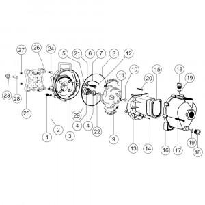 """Onderdelen passend voor Banjo centrifugaalpomp met elektromotor 2"""" draad"""