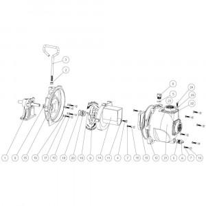 """Onderdelen passend voor Banjo centrifugaalpomp serie 222 gietijzer met hydromotor 2"""" draad"""