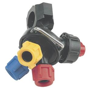 Arag dophouders voor buismontage met 3 dopaansluitingen (draadmontage) en membraanafsluiter (serie 4012) | 0,5 bar