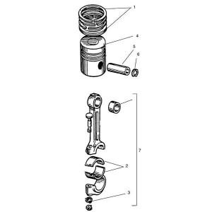 Zuiger en drijfstang passend voor Belarus MTS 950/952