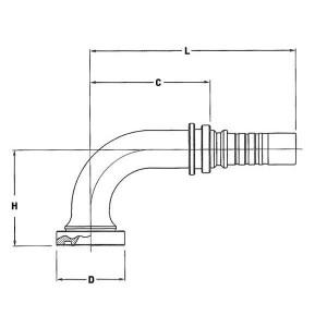 Perspilaar AQFSCH-1W-90º SAE flens 6000 PSI | Caterpillar machines | SAE 6000 PSI