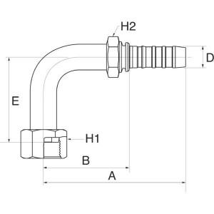 Perspilaar met wartel 90° ORFS/FFORX90L hoge bocht