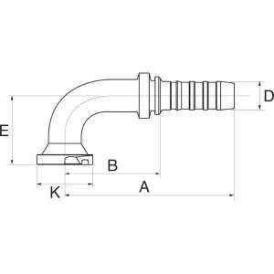 Perspilaar 90° lage bocht FL90S SAE flensaansluiting