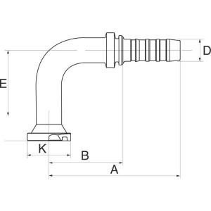 Perspilaar 90° hoge bocht FL90L SAE flensaansluiting