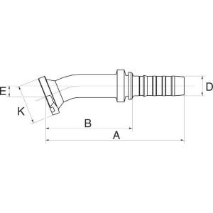 Perspilaar 22° bocht FLH22M flensaansluiting hoge druk