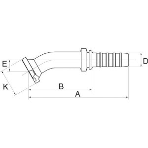 Perspilaar 30° bocht FLH30M flensaansluiting hoge druk