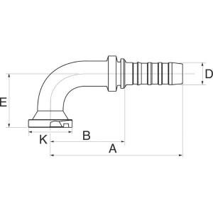 Perspilaar 90° lage bocht FLH90S flensaansluiting hoge druk