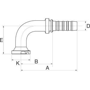 Perspilaar 90° medium bocht FLH90M flensaansluiting hoge druk
