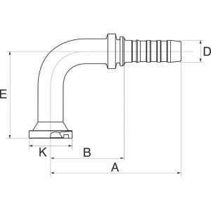 Perspilaar 90° hoge bocht FLH90L flensaansluiting hoge druk