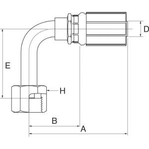 Perspilaar met wartel 90 ° ORFS/FFORX45S hoge bocht